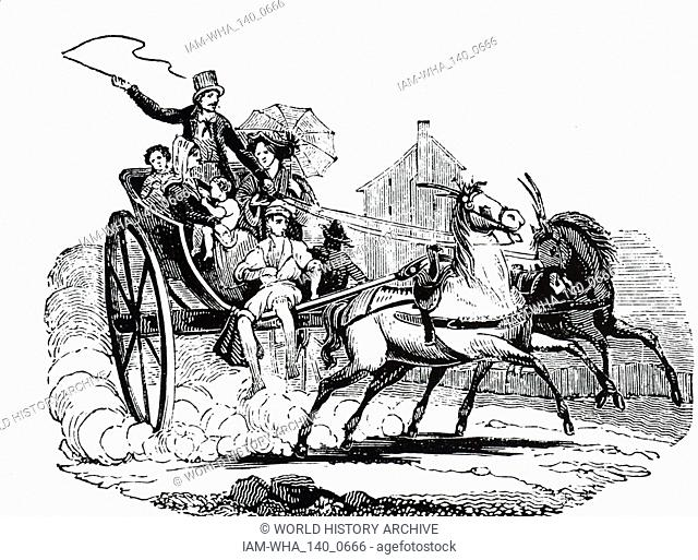 An engraving depicting an Italian cabriolet. By 1890 the vehicle was seldom seen and, for the most part, had been supplanted by the dog cart