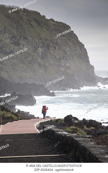 Storm over Termas de Ferraria in Sao Miguel island. Azores, Portugal