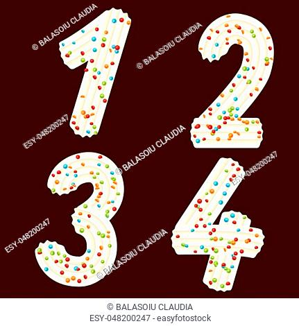 Tempting tipography. Font design. Icing letter. Sweet 3D numbers one, two, three, four of the whipped cream and candy. Vector