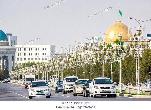Ashgabat, City, Turkmenistan, Central Asia, Asia, architecture, avenue, dome, downtown, lamps, new, road, street lights, traffic