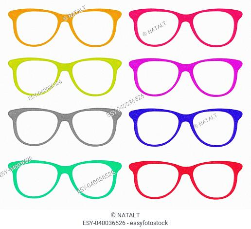 the set of colorful glasses isolated on white background with clipping parths