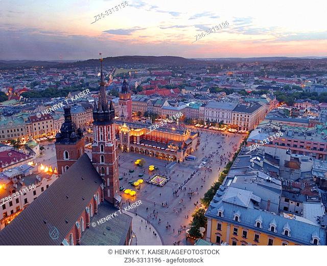 Panorama of Krakow from the air, Poland