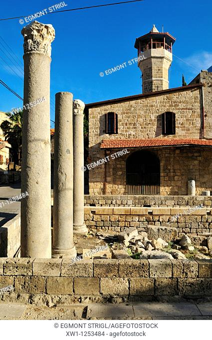 old mosque and antique coloumns at Byblos, Unesco World Heritage Site, Jbail, Lebanon, Middle east, West Asia