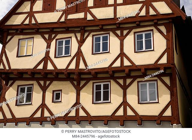 Half-timbered apartment building in the medieval town of Nordlingen, Bavaria, Germany