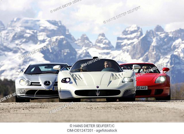 Car, Porsche Carrera GT, Maserati MC 12, Mercedes SLR, model year 2005-, roadsters, standing, upholding, frontal view, landsapprox