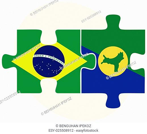 Brazil and Christmas Island Flags in puzzle isolated on white background