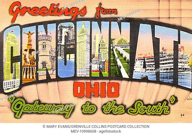 Greetings from Cincinnati, Ohio, USA - Big Letter Greetings Postcard - 'Gateway to the South'
