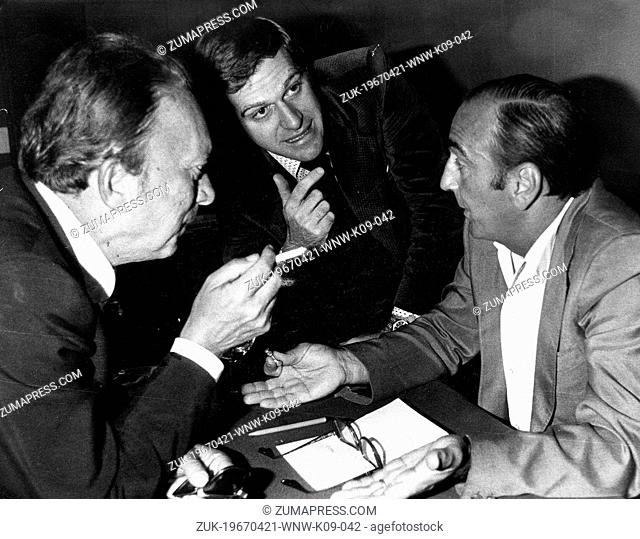 Apr. 21, 1967 - Rome, Italy - SIMONCINI, GIORGIO BENVENUTO, the founder, and RAVENNA at the Metalmechanic Trade Union Meeting
