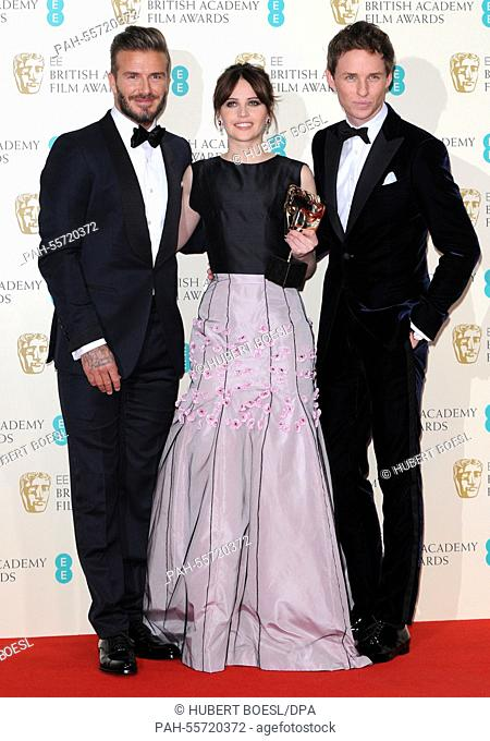 Presenter David Beckham (l-r), actors Felicity Jones and Eddie Redmayne pose at the winner's photo room of 67th annual EE British Academy Film Awards, Baftas