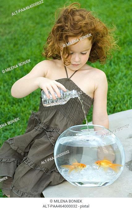 Redheaded little girl pouring bottled water into goldfish bowl