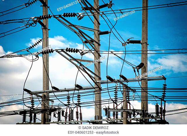 Close up shot of electricity power line over clear sky