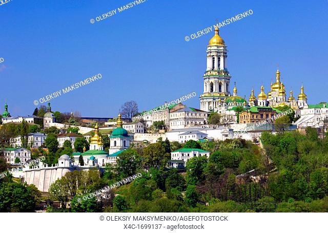 Kievo-pecherskaya lavra - Kiev pechersk lavra - Cave monastery golden cupola in Kiev Ukraine