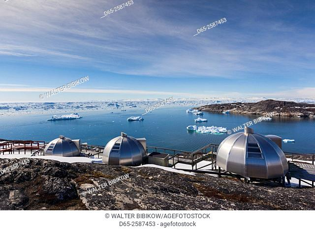 Greenland, Disko Bay, Ilulissat, waterfront igloo houses