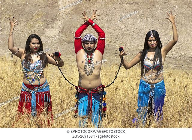 Group of belly dancers posing in a Tribal Fusion dance, Pune, Maharashtra, India