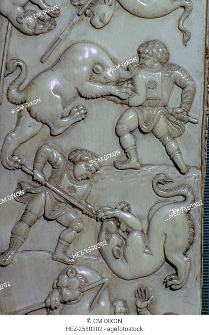 Detail from an ivory diptych of men fighting lions at the games. From Constantinople, and currently at the Hermitage Museum, St Petersburg, 6th century