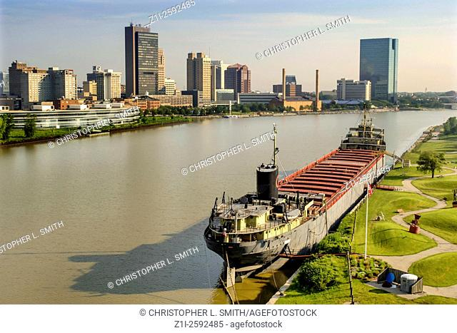 S. S. Willis B. Boyer Great lakes Freighter moared on the Maumee River