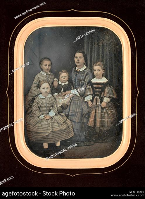 [Woman with Four Children]. Artist: Alexandre Bertrand (French, born 1822); Date: 1850s; Medium: Daguerreotype; Dimensions: Image: 14