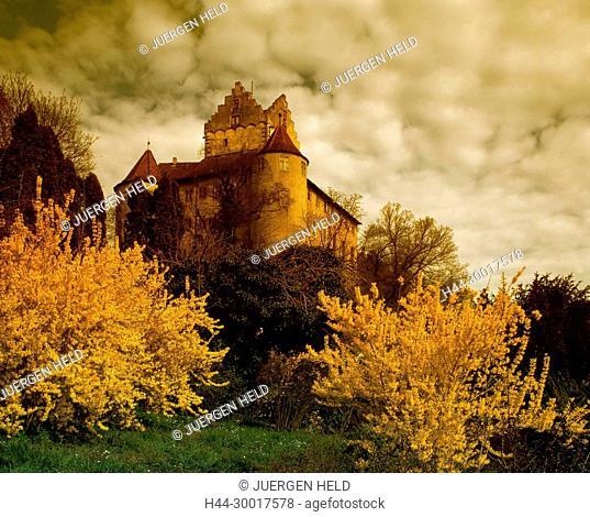 Germany, Baden Wuerttemberg, Meersburg, Lake Constanze, Meersburg, castle, spring