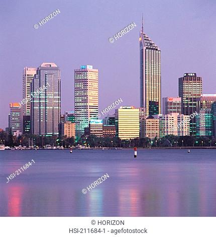 Perth skyline at dusk in Western Australia