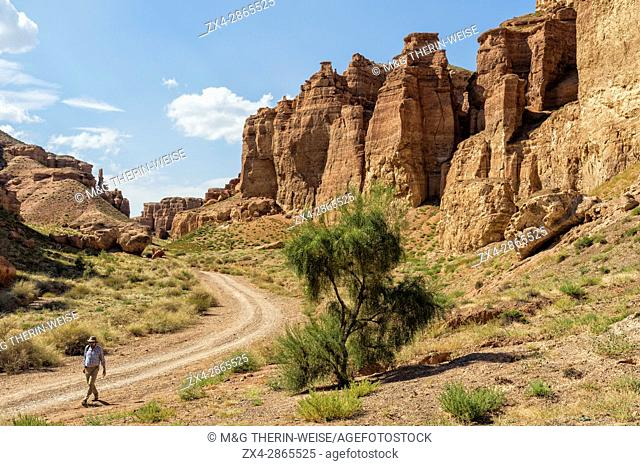 Man walking on the road in Sharyn Canyon National Park and the Valley of Castles, Tien Shan Mountains, Kazakhstan