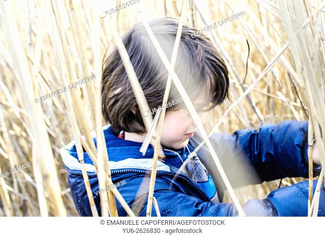 7 year old boy in a cane