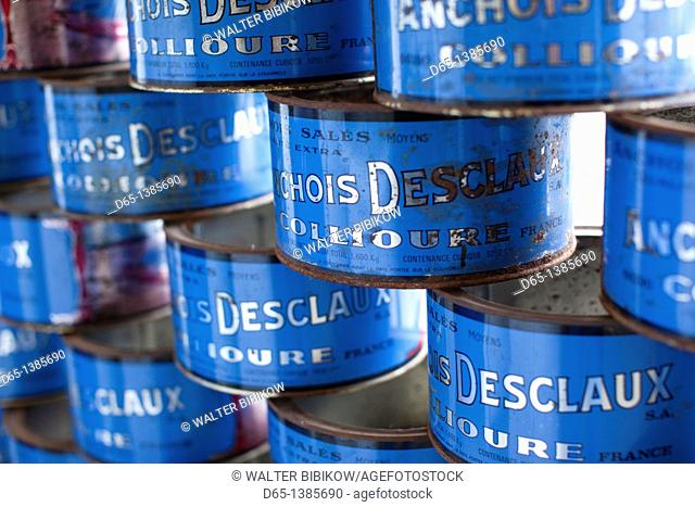 France, Languedoc-Roussillon, Pyrennes-Orientales Department, Vermillion Coast Area, Collioure, old anchovy cans