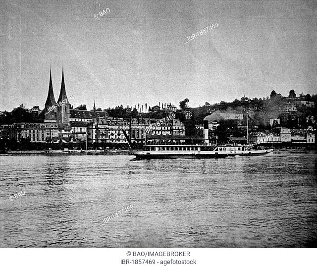 One of the first autotypes of Lucerne, Switzerland, historical photograph, 1884
