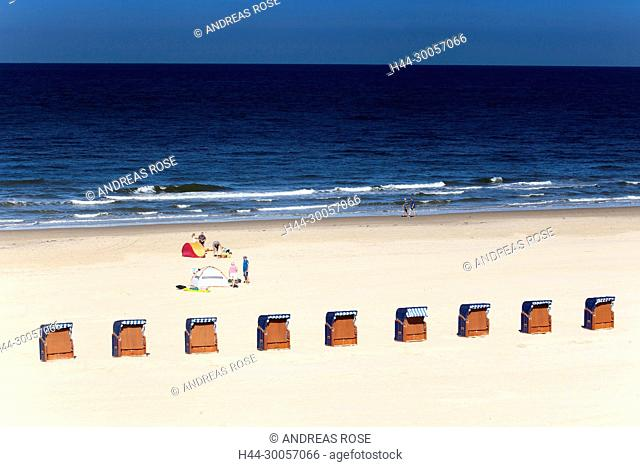 Beach area with beach chairs on the beach of Egmond, North sea, Holland, Netherlands