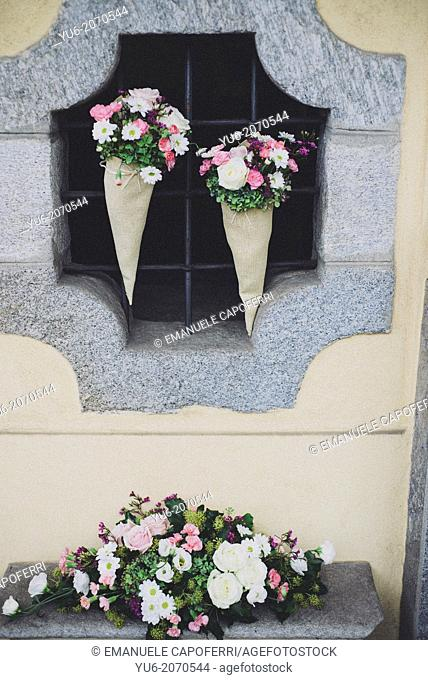 Floral decorations outside the church wedding
