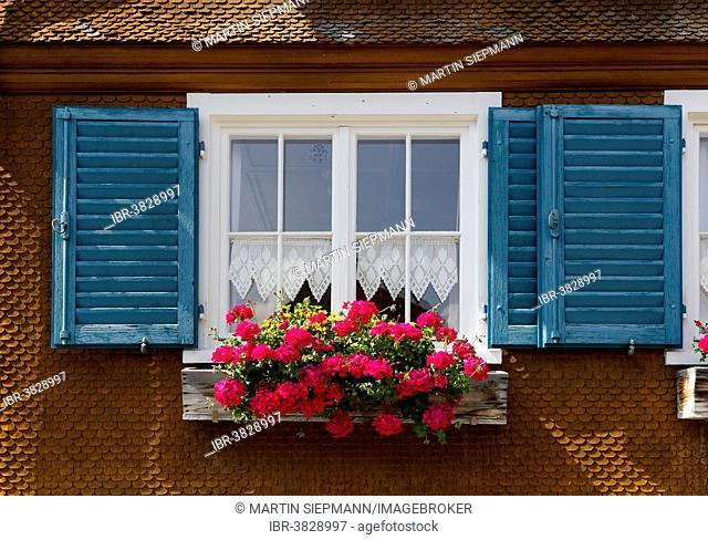 Window with geraniums on an old wooden house, Kehlegg near Dornbirn, Vorarlberg, Austria