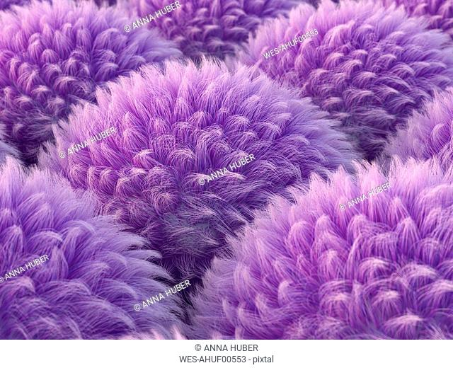 Fluffy purple spheres, 3d rendering