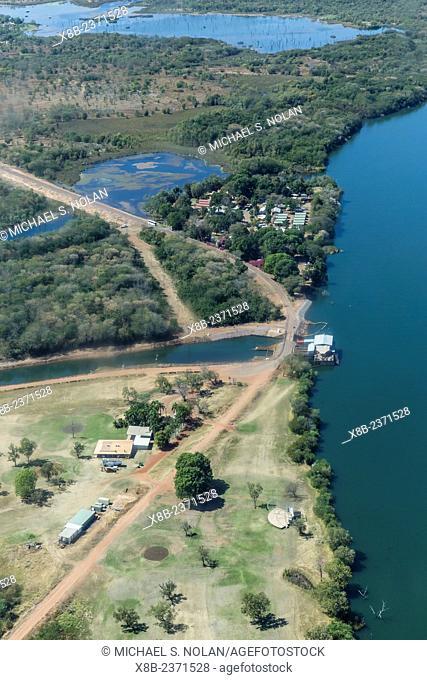 Aerial view of the manmade Ord River near the town of Kununurra, Kimberley, Western Australia, Australia