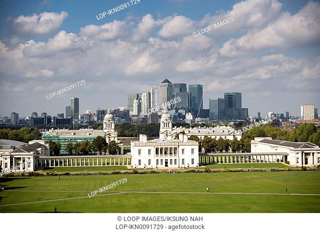 A view of Canary Wharf and The Royal Naval College from Greenwich Park