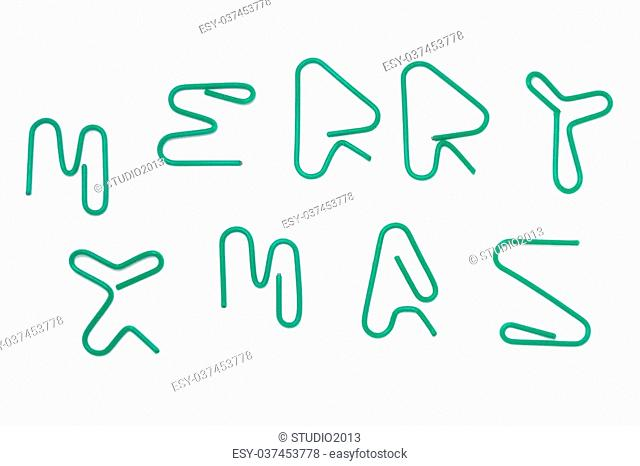 paper clip text the word merry xmas by handmade