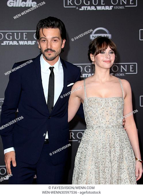 """Premiere Of Walt Disney Pictures And Lucasfilm's """"""""Rogue One: A Star Wars Story"""""""" Featuring: Diego Luna, Felicity Jones Where: Hollywood, California"""