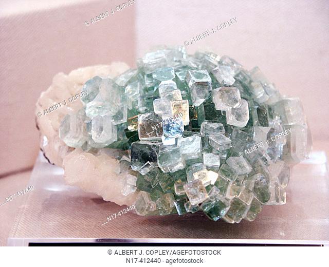 Apophyllite and stilbite crystals. India