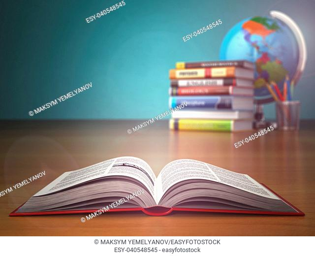 Concept of education. Open book wich pencils and globe on green vintage background