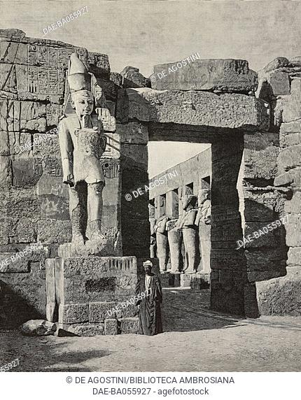 Statue and Temple of Ramses III after the restoration, the Karnak Temple Complex, Luxor, Egypt, illustration from the magazine L'Illustration, year 57, no 2916