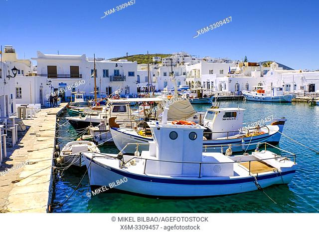 Fishboats on the harbour. Naoussa village. Paros island. Cyclades islands. Greece