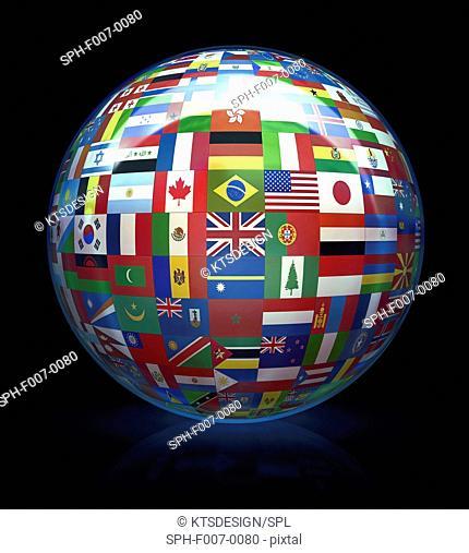 World flags, computer artwork