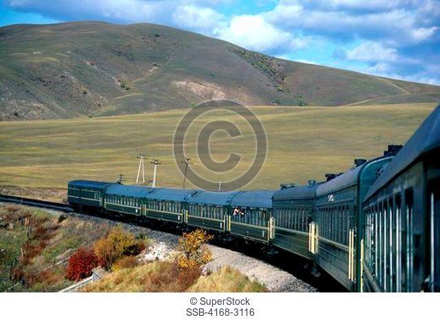 Russia, Trans-Siberian Railway, Near Irkutsk, Siberian Farmland, Train