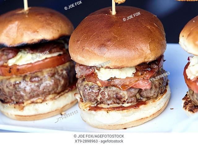 gourmet burgers on display