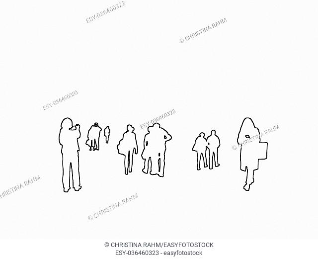 Silhouettes of everyday people in the city taking pictures, checking smartphone black contours on white abstract background illustration