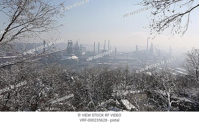 factory with snow