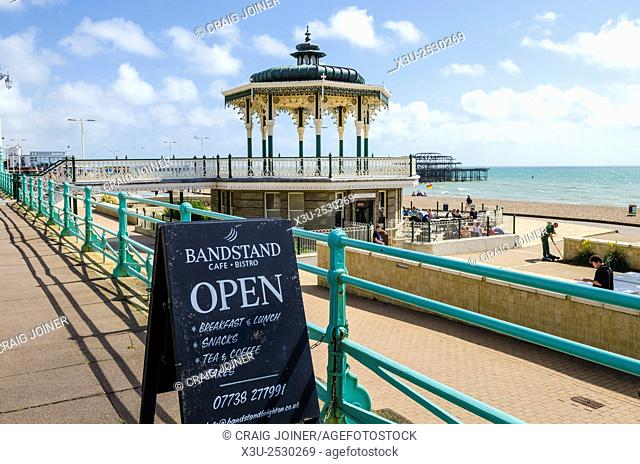 The Bandstand and cafe on the Brighton and Hove seafront in summer, East Sussex, England