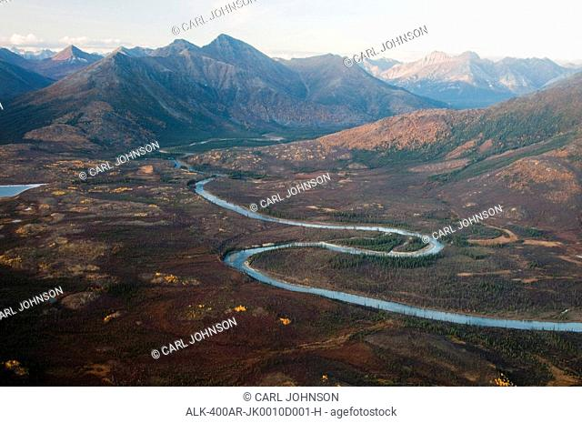 Aerial view of the Kobuk River winding through Endicott Mountains in Gates of the Arctic National Park & Preserve, Arctic Alaska, Fall