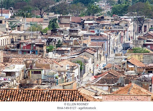 An aerial view of central Santiago de Cuba taken from the roof of the Casa Granda Hotel, Santiago de Cuba, Cuba, West Indies, Central America