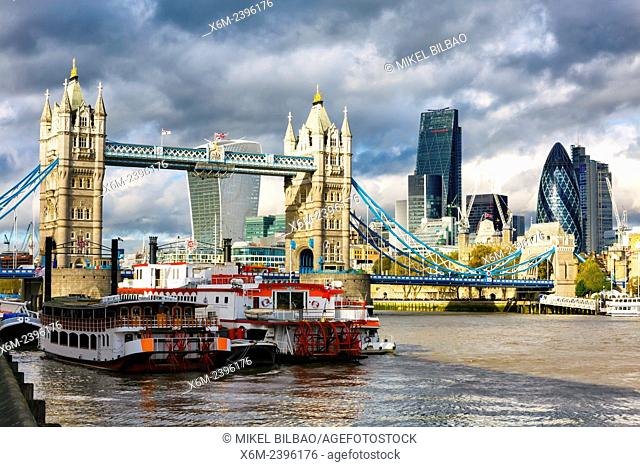 Tower Bridge, the City buildings and River Thames. London, United Kingdom, Europe