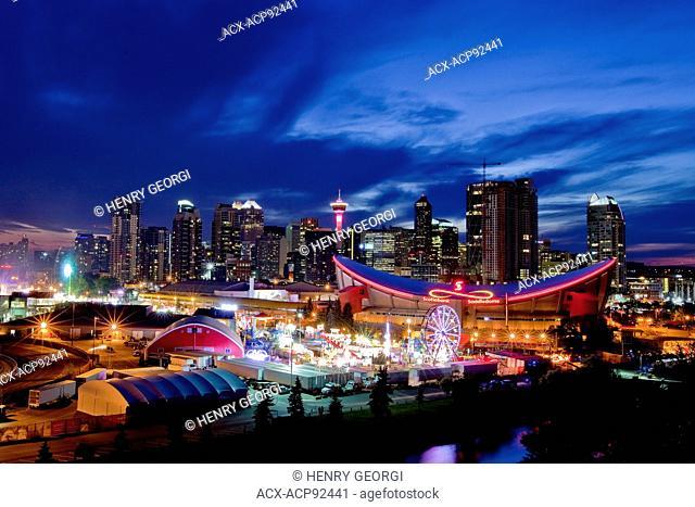 Calgary Stampede grounds and Calgary skyline, Calgary, Alberta, Canada