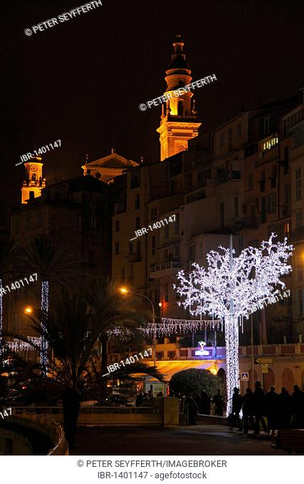 Old town of Menton with Église St. Michel church at Christmas time, illuminated tree, Département Alpes Maritimes, Région Provence-Alpes-Côte d'Azur